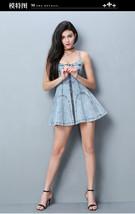 PF220 sexy halter mini dress, open back, zipper front, denim blue, SIZE S-L - $52.80