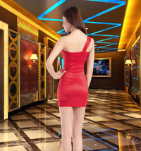 pf183 Sexy sweet opeb shoulder mini dress with big flowers, free S,-2xl - $38.80