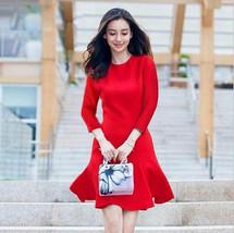 PF017 Elegant short sleeve mini dress, tapestry, Size s,-xl, red - $18.80