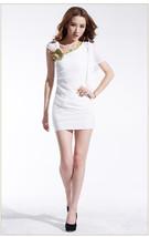 pf184 Sexy sweet opeb shoulder mini dress with big flowers, free S,-2xl - $28.80