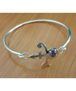 Bangle - With Purple Stone Love - Remembrance Symbol - Sterling Silver - $65.00