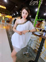 PF185 Sexy sweet single shoulder mini dress, chiffon, free size - $28.80