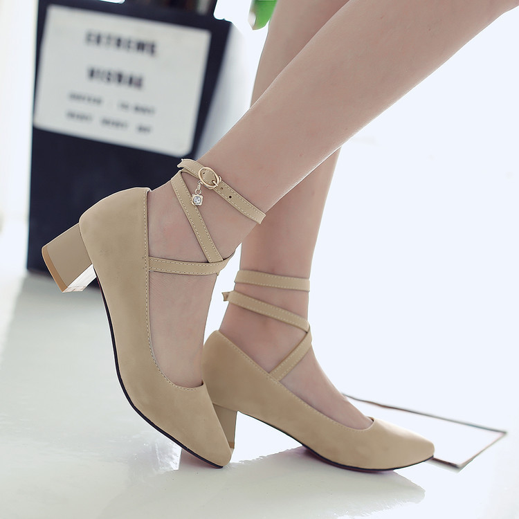 Primary image for pp185 crossed strappy med-heels pump,size 34-43