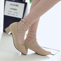 pp185 crossed strappy med-heels pump,size 34-43 - $42.80