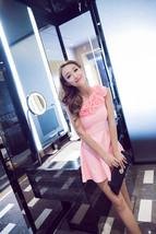 PF186 Sexy sweet flower mini dress w decling shoulder, size s,m,l - $32.80