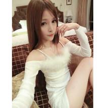 pf120 Cutie long sleeve halter mini dress w hairy trim,size s-xl - $28.80