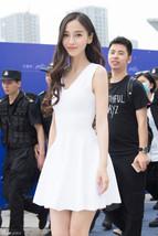PF019 Elegant halter mini dress, sleveless, cotton blend, Size s,-xl, white - $26.00