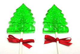 12 CHRISTMAS HOLIDAY TREE Lollipops with Satin Ribbon - Stocking Stuffer... - $15.99