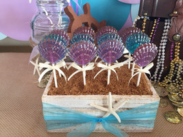 12 CLAM SHELL Lollipops - Mermaid Party, Ariel Party, and Beach Party Fa... - $14.99