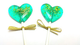 12 - HEART LOLLIPOPS with Edible Gold Glitter and Gold Ribbon - Wedding ... - $19.99