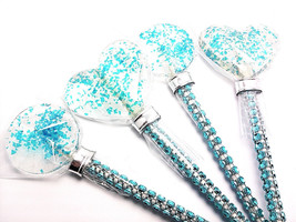 12 EDIBLE TURQUOISE GLITTER Lollipops with Bling Sticks - Wedding Favors... - $18.99