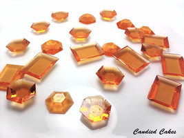 250 ORANGE EDIBLE SUGAR Jewels - Featured in Brides Magazine - $22.99