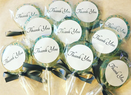 12 THANK YOU LOLLIPOPS with Edible Crystals, Ribbon, and Personalized La... - $20.99