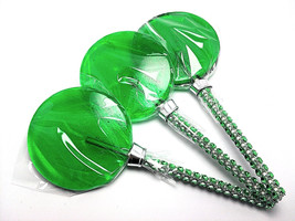 12 LARGE 2.5 INCH GREEN Lollipops with Bling Stick - Bridal Shower and B... - $24.99