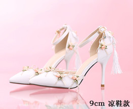 ps295 Elegant bridal sandals with small flowers and fring size 35-39 - $38.80+