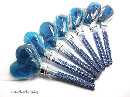 12 BLUE HEART Lollipops -Faux Rhinestone Stick, Wedding Bridal Lollipop ... - $24.99