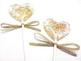12 - HEART LOLLIPOPS with Gold Crystals and Gold Sparkle Ribbon - Weddin... - $18.99