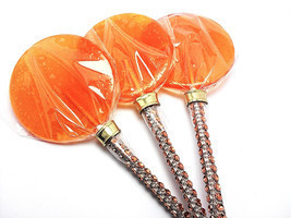 12 LARGE 2.5 INCH ORANGE Lollipops with Bling Stick - Bridal Shower and ... - $24.99