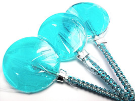 12 LARGE 2.5 INCH TURQUOISE Lollipops with Bling Stick - Bridal Shower a... - $24.99