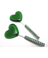 12 GREEN HEART LOLLIPOPS - Matching Faux Rhinestone Stick, Wedding and B... - $24.99