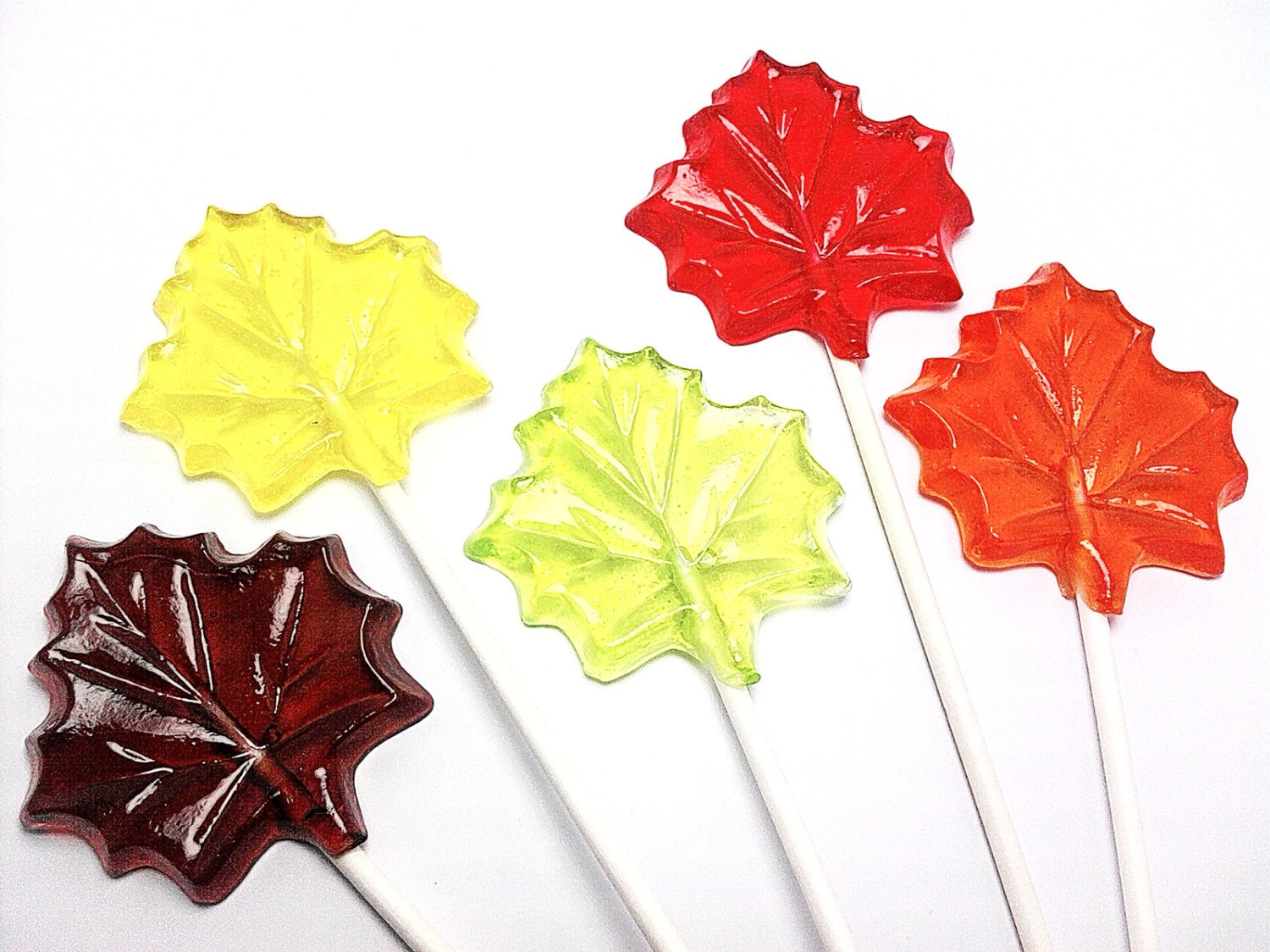 Primary image for 100 MAPLE LEAF LOLLIPOPS - Fall Party Favors, Select up to 3 colors and 3 flavor