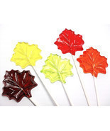 100 MAPLE LEAF LOLLIPOPS - Fall Party Favors, Select up to 3 colors and ... - £73.45 GBP