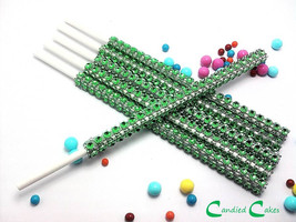 16 - GREEN Cake Pop Bling Sticks - Free US Shipping - $11.99