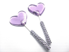 12 LAVENDER HEART LOLLIPOPS - Matching Faux Rhinestone Stick, Wedding an... - $24.99