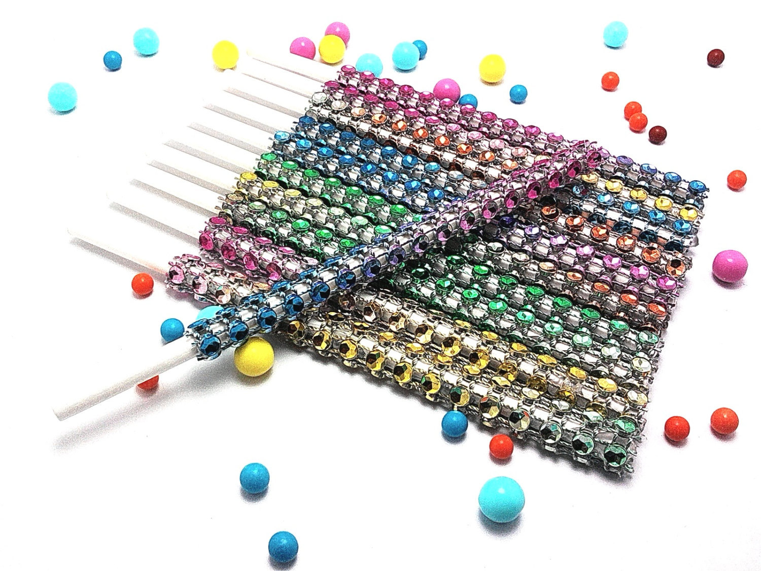 16 - RAINBOW Cake Pop Bling Sticks - Free US Shipping