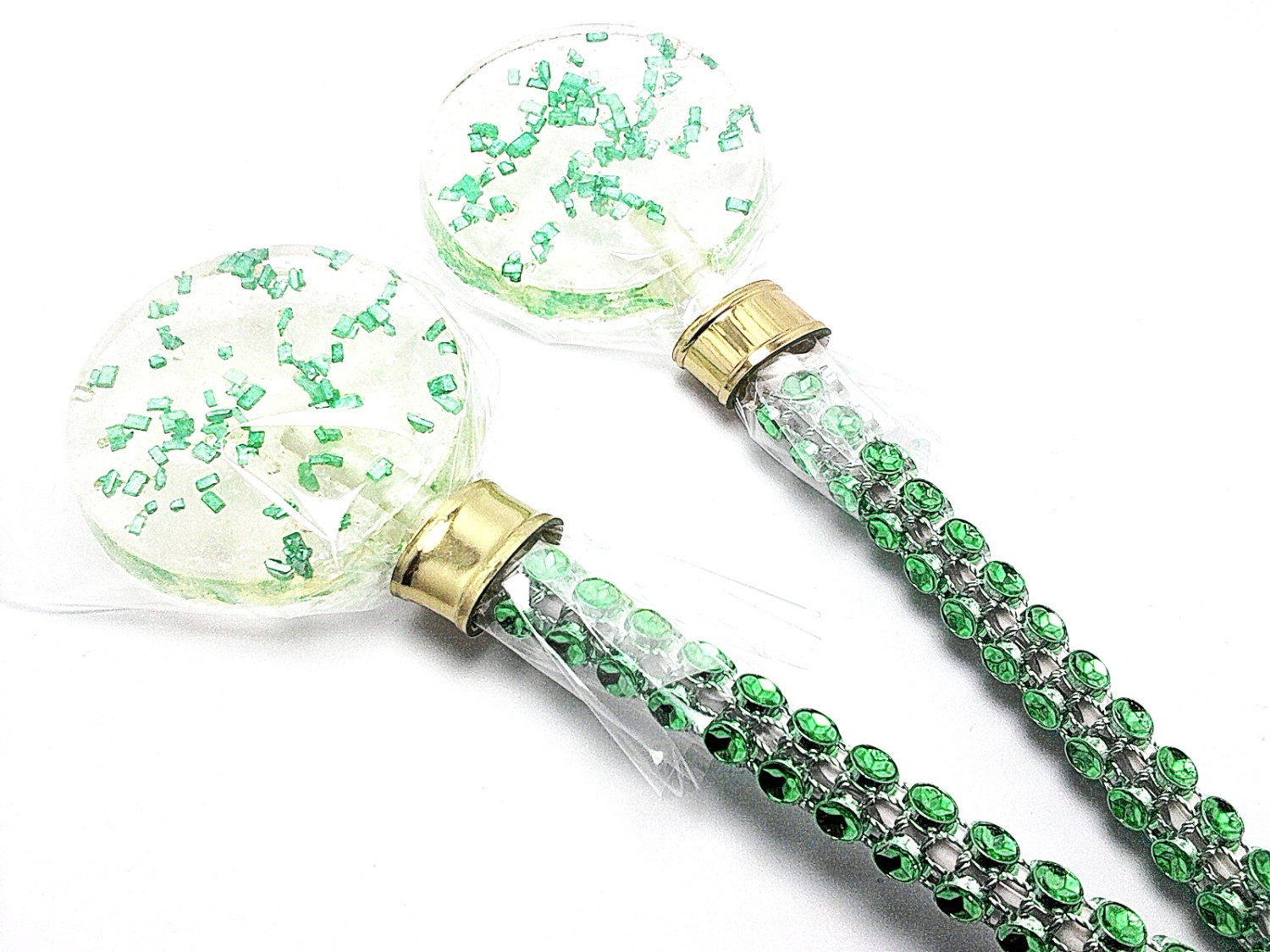 12 - GREEN CRYSTAL LOLLIPOPS - Wedding, Bridal Shower, and Party Favors