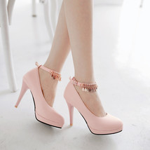 pp192 Cutie high-heeled pump w gold fringe, size 34-39 - $38.00+