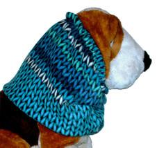 Blue Purple Turquoise Stripe Faux Sweater Knit Fleece Dog Snood Size Large  - $12.50