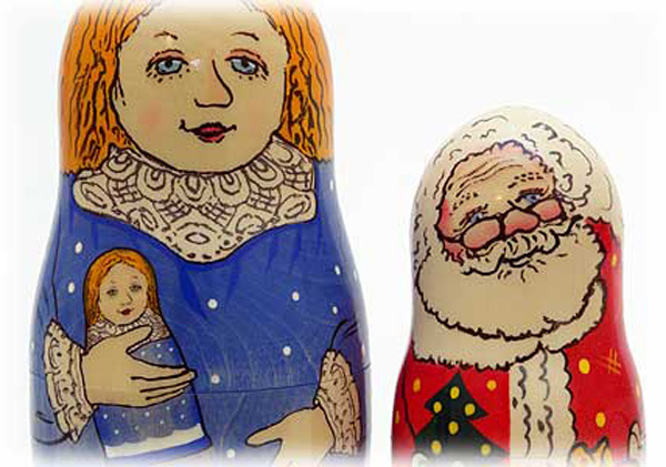 How the Russian Snow Maiden Helped Santa Claus Nesting Doll and Book Set