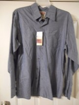 Men's Wrangler Long Sleeve Button Front Shirt Blue Stripe Size XL New W Tags - $16.82