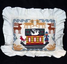 Holiday Cross Stitch Needlepoint Christmas Nordic Ark Reindeer Pillow Ha... - $34.99