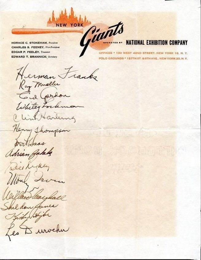 1949 NEW YORK GIANTS Signed team sheet - 14 autographs, Hank Thompson, Irvin ++