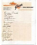 1949 NEW YORK GIANTS Signed team sheet - 14 autographs, Hank Thompson, I... - $470.25