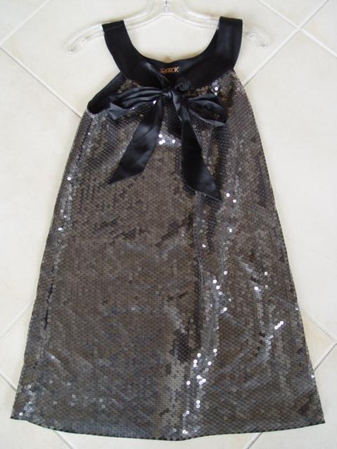 LaROK tie front sequin sheath dress. Size small color black