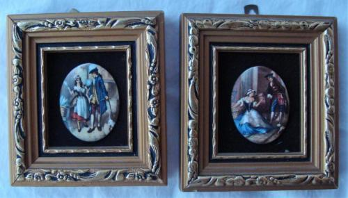 2 Framed Miniature Enamel on Copper Pictures Victorian Sexy Servants PG Collins