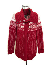 Eddie Bauer Nordic Fair Isle Lambswool Zip Front Cardigan Sweater Petite XS - $24.88