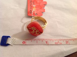 NEW Geranium Gold Toned Ring With Grapefruit Colored Stone Adjustable 7 + Size image 5