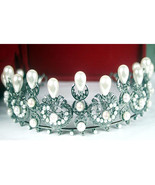 Royal Antique Victorian Insp 5.22Ct Rose Cut Diamond 925 Silver Tiara Cr... - $819.19