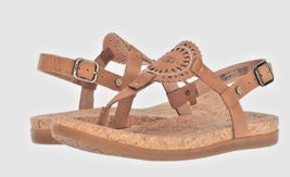 UGG AYDEN II T-Strap Leather Flat Sandals Almond Brown Size 10 NEW - $64.33