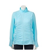 NEW WOMENS PLUS SIZE 3X FILA SPORT ICE BLUE RUCHED SIDES ZIP UP HOODIE J... - $30.95
