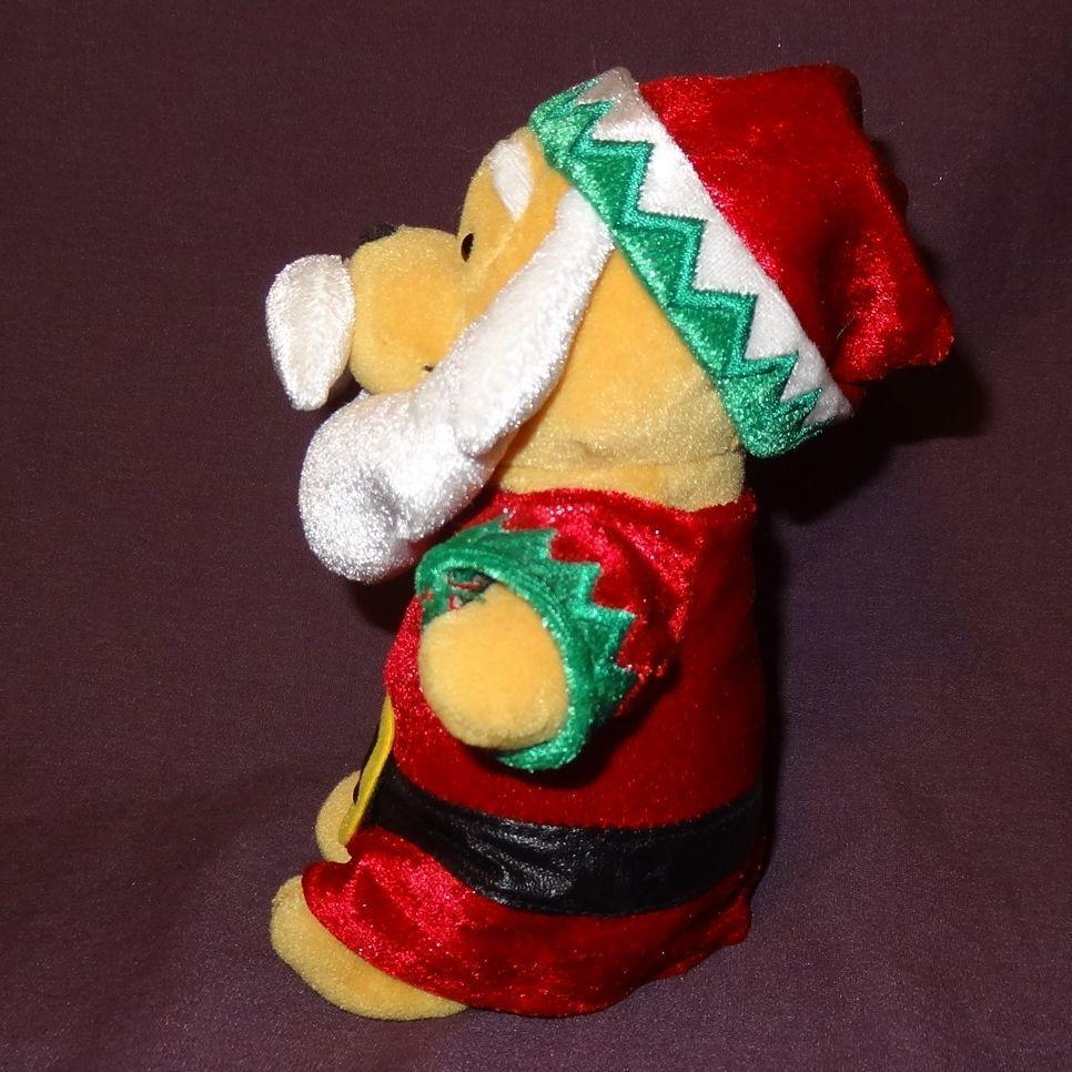 "Winnie The Pooh Disney Plush Stuffed Animal 7"" Bean Bag Dressed An Santa Claus"