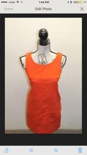 J.Crew Little Orange Women Dress Sz 2 P Mini Skirt Pinafore Sleeveless  Cotton image 5