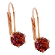 2.00 Ct 6mm Round Shape Red Rhodolite Garnet Rose Gold Plated Stud Earrings - $30.97+