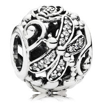 925 Sterling Silver Dragonfly Meadow with Clear CZ Openwork Charm Bead Q... - $19.99