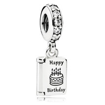 925 Sterling Silver Birthday Wishes with Clear Cz Dangle Charm Bead QJCB765 - $20.99
