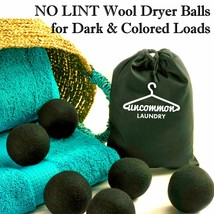 NO LINT WOOL DRYER BALLS for Dark & Colored Laundry (6 Pk), less wrinkle... - $19.95